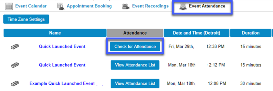 Screenshot of the Event Attendance tab, hightlighting the option to Check for Attendance.