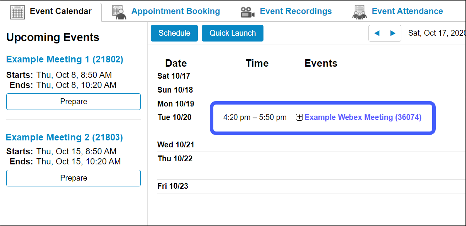 Locate the meeting on the Webex Dashboard calendar.