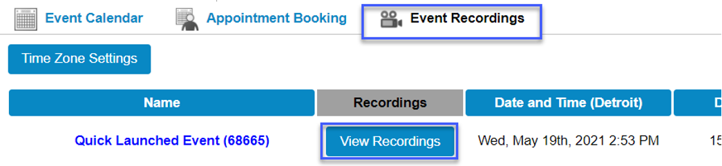 Screenshot of the Event Recordings tab, highlighting View Recordings.