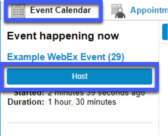 Screenshot highligting the link to Host in the Event Calendar tab.