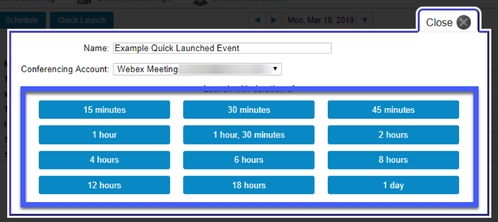 Screenshot of the Quick Launch options, highlighting the Duration options.
