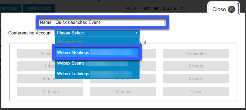Screenshot of the Quick Launch options, highlighting the Name and Conferencing accounts options.