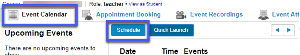 Screenshot highligting the link to Schedule in the Event Calendar tab.