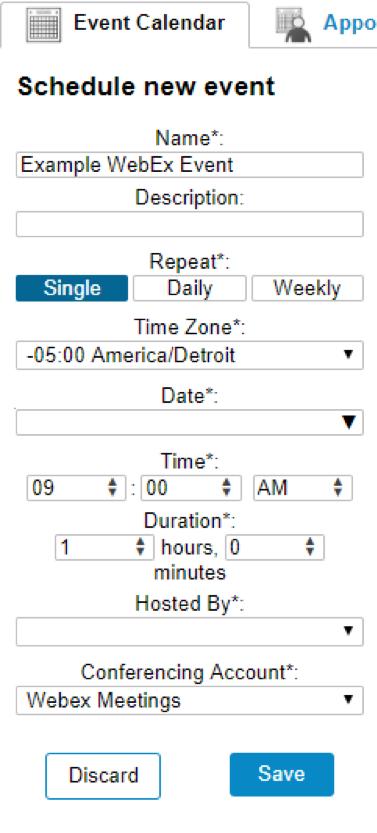 Screenshot of the Schedule new event menu.