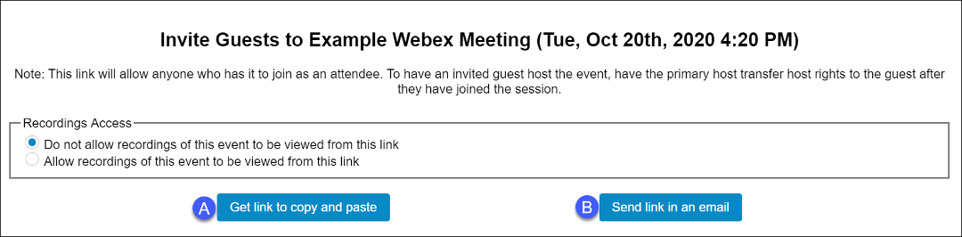 Select one of the options for inviting a guest to a meeting.