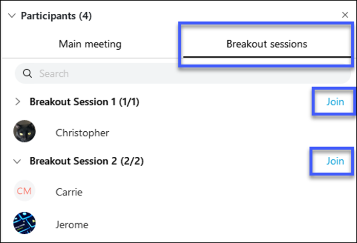 Select Join to join a breakout session.