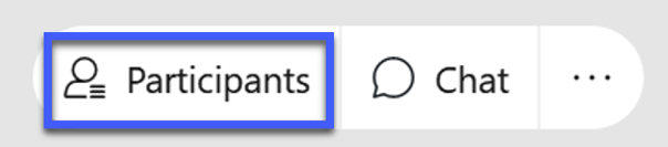 Screenshot of the WebEx meeting controls, highlighting the icon for Participants.