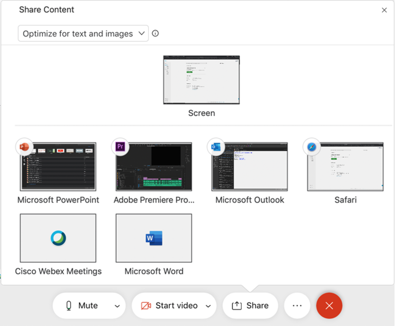 Screenshot of the Share Content screen, marking the options to Share the Screen, Share an open application, and to share a file or other application.