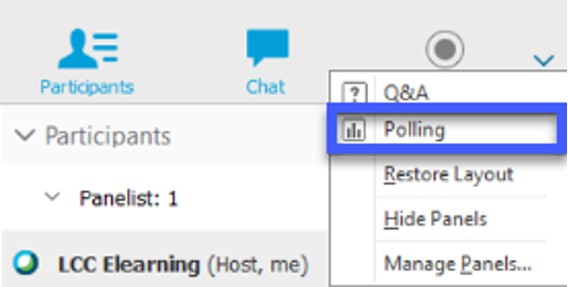 Select Polling from the More Options menu.