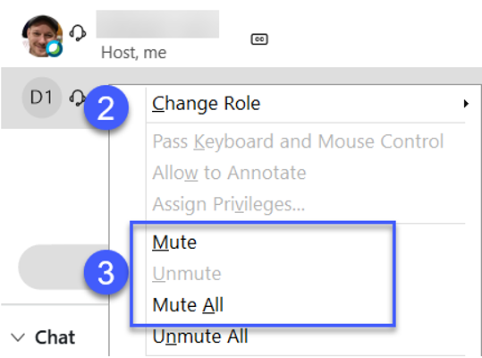 Mute an individual and Muting All are found in the same dropdown menu.