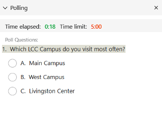Poll displayed in WebEx Meeting.