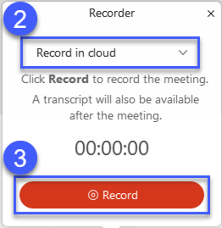 Screenshot of the Webex recorder options, highlighting Record in cloud.