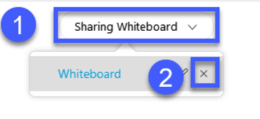 Select the Share Whiteboard menu and then select the Close button.