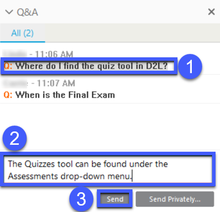 Hosts can select a question, answer it, and post the response publicly.