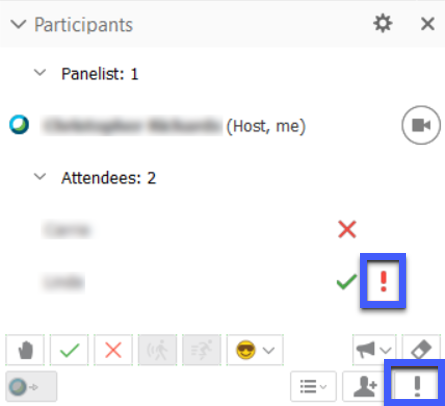Icons appear next to a participant's name indicating focus of their applications.