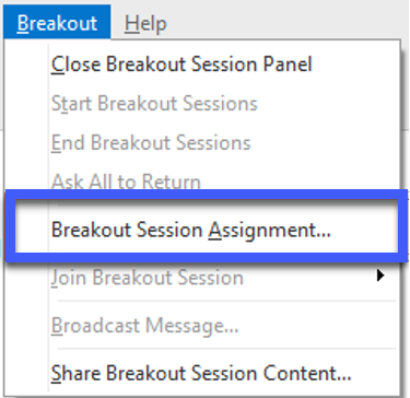 Screeenshot of Breakout menu, highlighting the Breakout Session Assignment link.