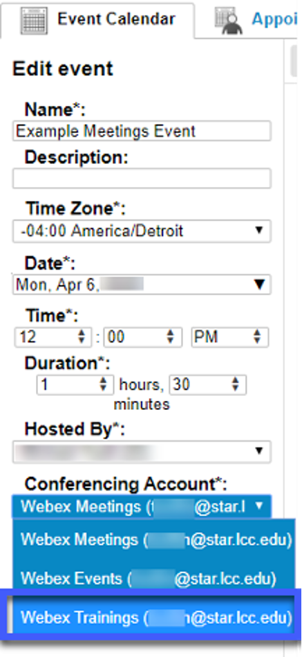 Screenshot of a WebEx Meetings Edit event options,highlighting the WebEx Training account in the Conferencing Account menu.
