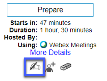 Screenshot of the Meeting options for a WebEx Meeting in D2L, highlighting the Edit icon.