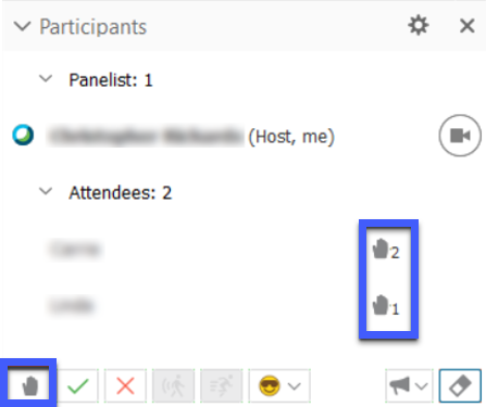 Raise hand icons appear next to participants' names.