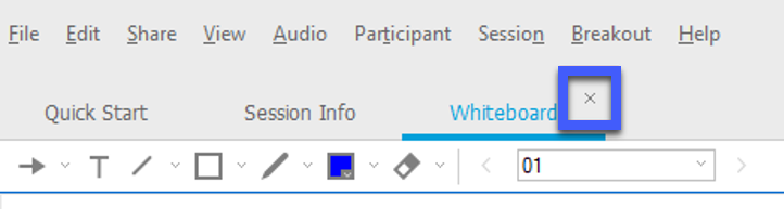 Screenshot of the WebEx Training tabs, highlighting the X to close the tab for Whiteboard.