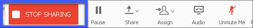 Screenshot of the Sharing tools menu, highlighting the Stop Sharing button.