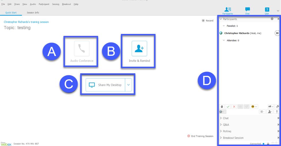 Interface of WebEx Trainings.