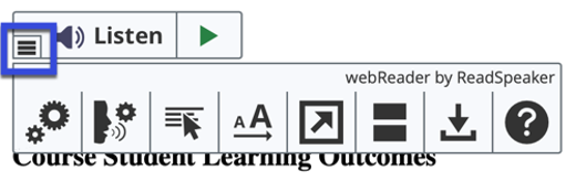 Select the down-down arrow on the webReader toolbar to display additional controls and tools.