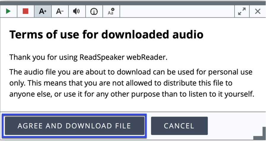 webReader MP3 download Terms of Use agreement.