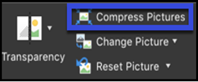 Compress Pictures option highlighted on the Pictures Tab in Microsoft Word